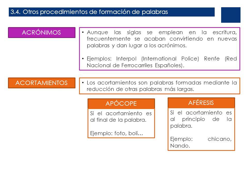 3.4. Otros procedimientos de formación de palabras