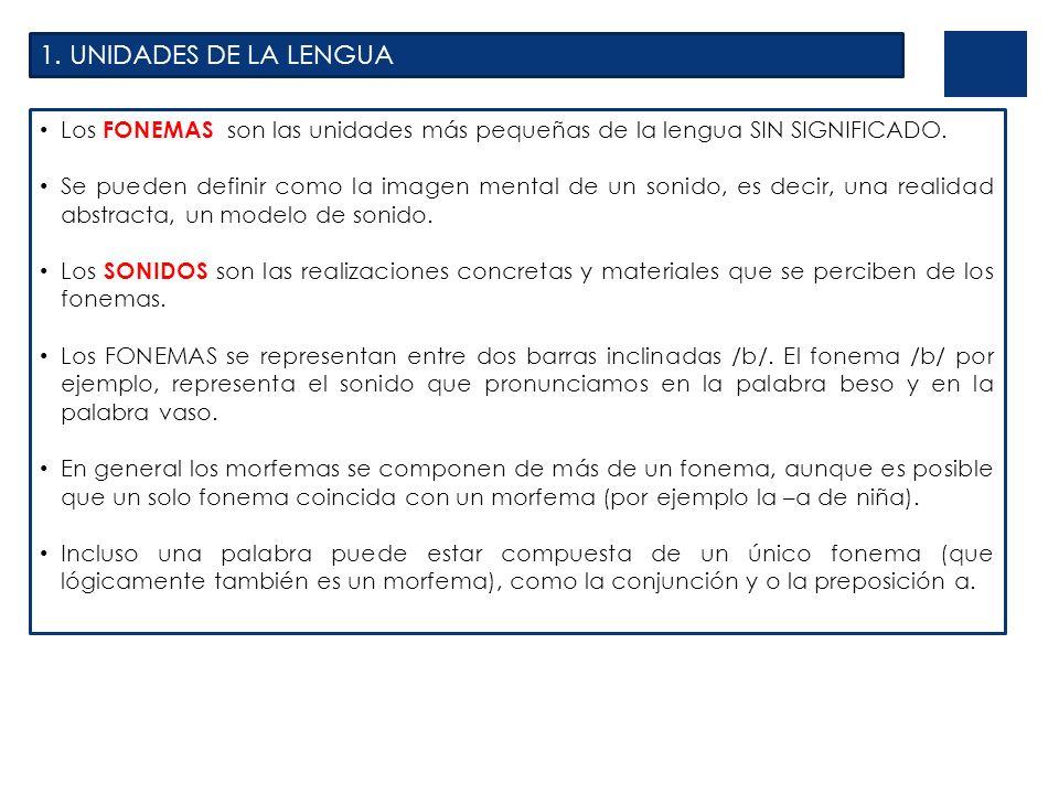 1. UNIDADES DE LA LENGUA Los FONEMAS son las unidades más pequeñas de la lengua SIN SIGNIFICADO.