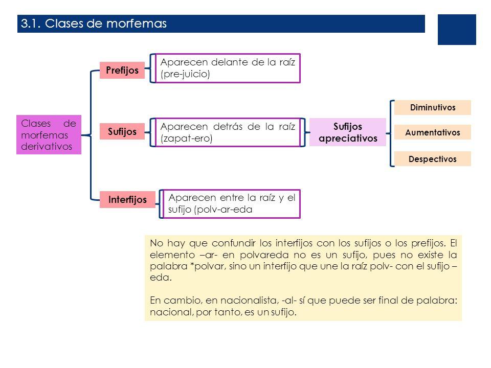 3.1. Clases de morfemas Aparecen delante de la raíz (pre-juicio)