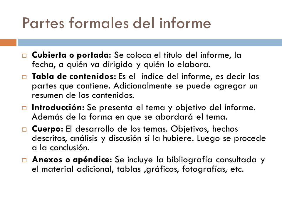 Partes formales del informe