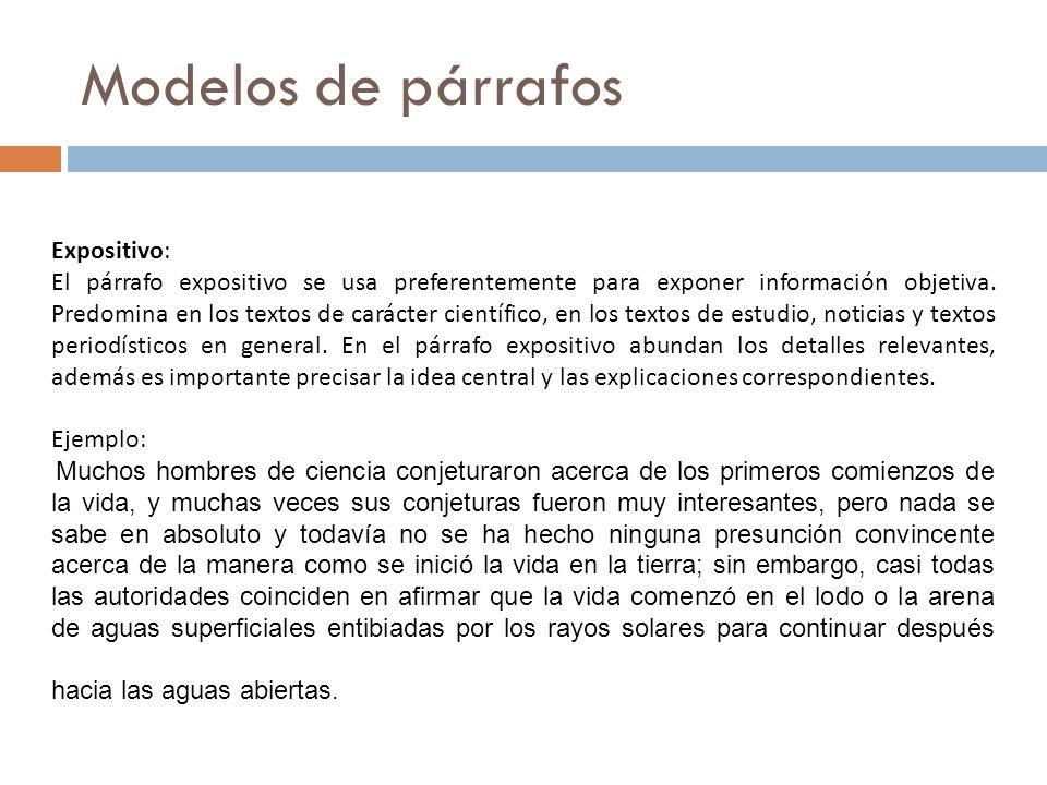 Modelos de párrafos Expositivo: