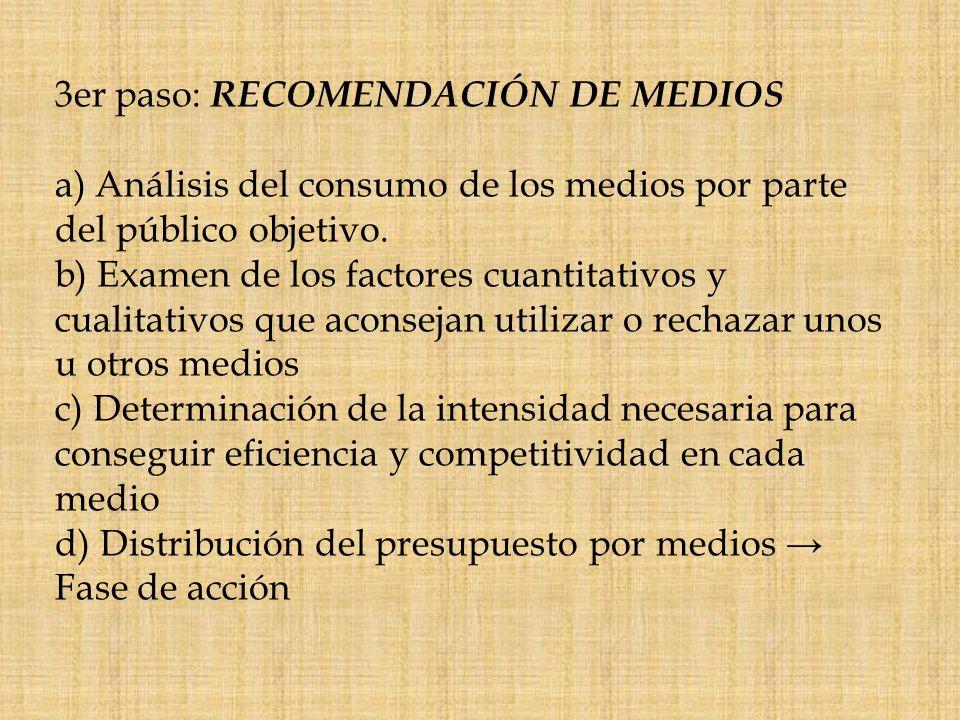 3er paso: RECOMENDACIÓN DE MEDIOS