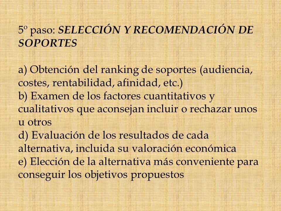 5º paso: SELECCIÓN Y RECOMENDACIÓN DE SOPORTES