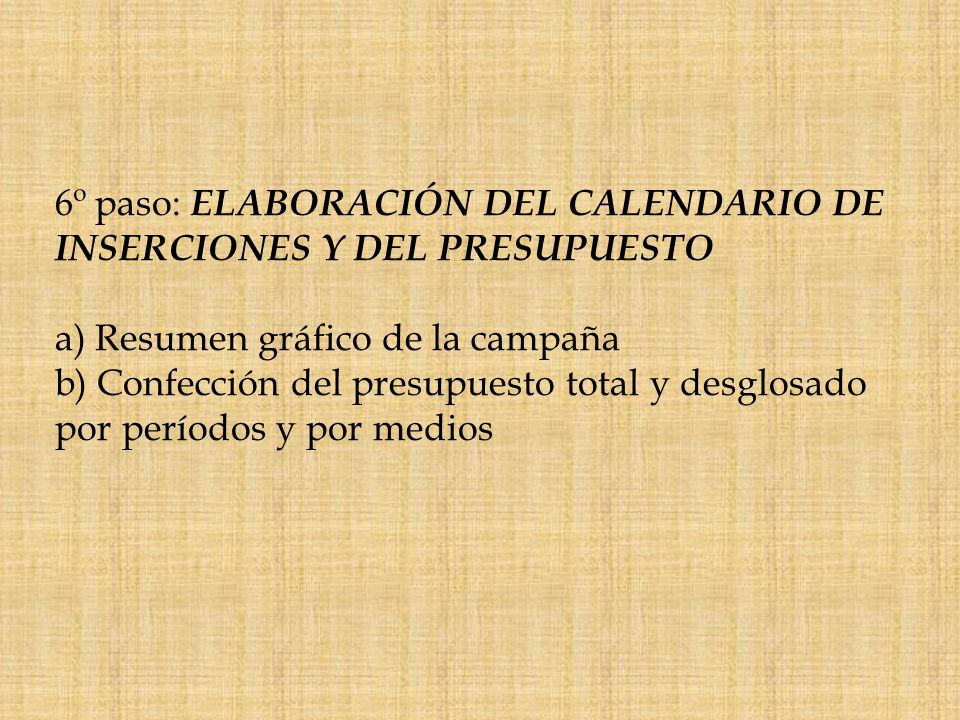 6º paso: ELABORACIÓN DEL CALENDARIO DE INSERCIONES Y DEL PRESUPUESTO