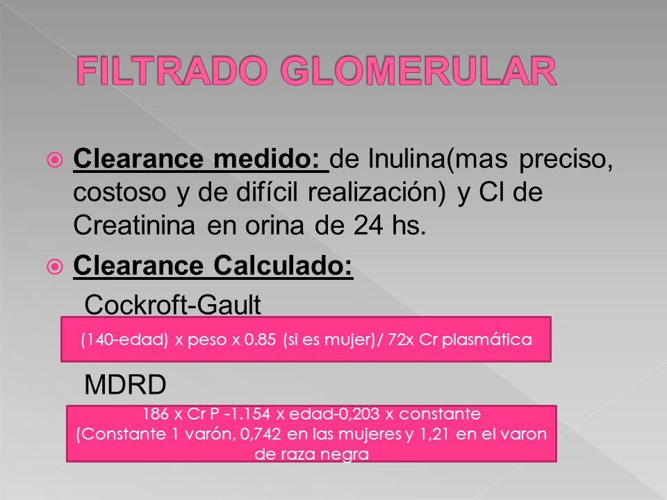 FILTRADO GLOMERULAR Clearance medido: de Inulina(mas preciso, costoso y de difícil realización) y Cl de Creatinina en orina de 24 hs.