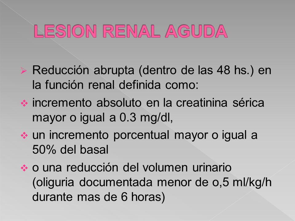 LESION RENAL AGUDA Reducción abrupta (dentro de las 48 hs.) en la función renal definida como:
