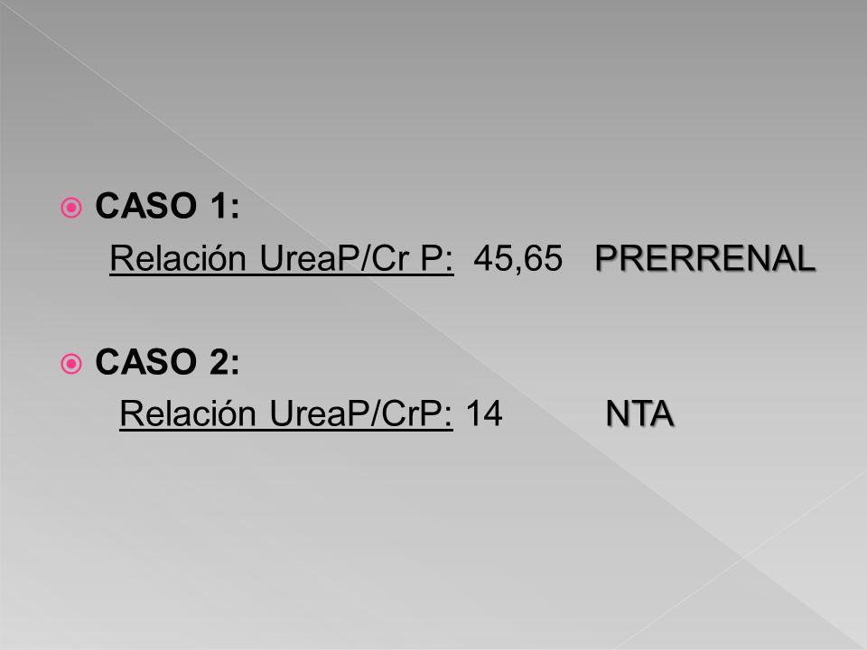 CASO 1: Relación UreaP/Cr P: 45,65 PRERRENAL CASO 2: Relación UreaP/CrP: 14 NTA