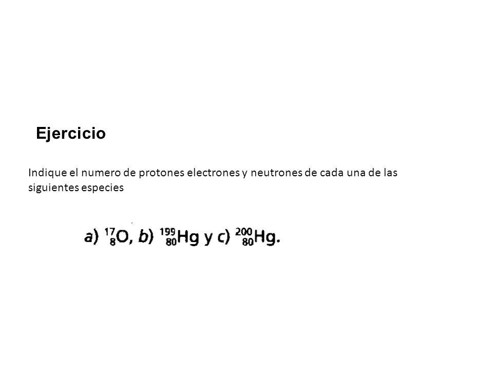 Ejercicio Indique el numero de protones electrones y neutrones de cada una de las siguientes especies.