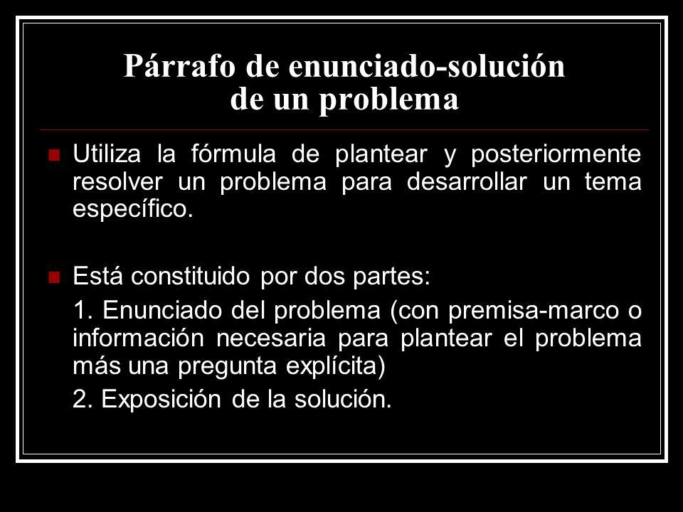 Párrafo de enunciado-solución de un problema
