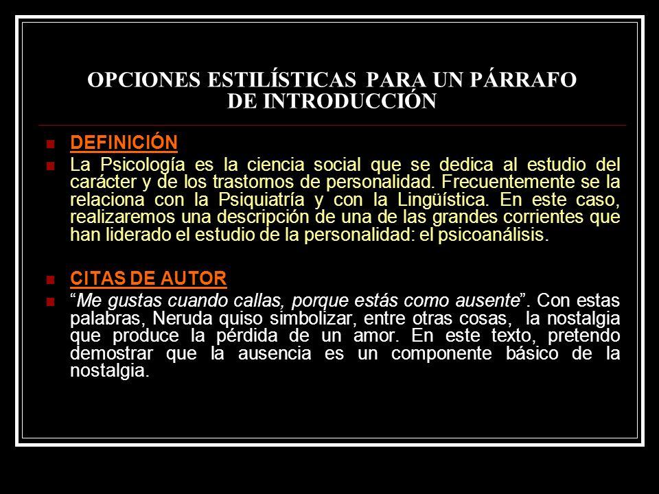 OPCIONES ESTILÍSTICAS PARA UN PÁRRAFO DE INTRODUCCIÓN
