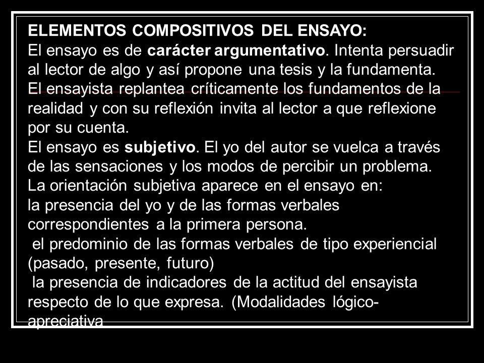ELEMENTOS COMPOSITIVOS DEL ENSAYO:
