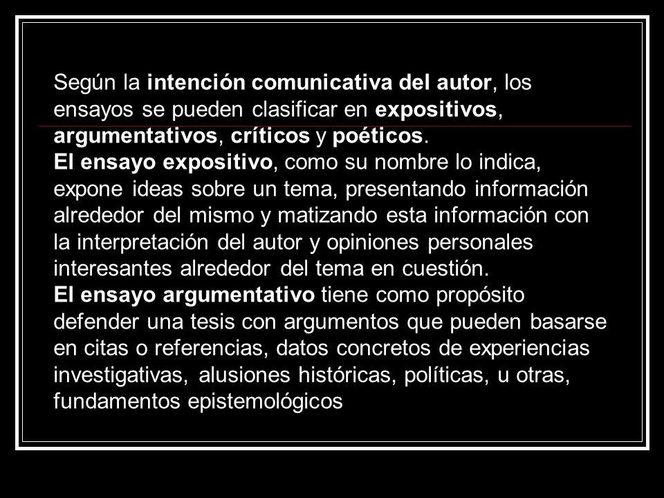 Según la intención comunicativa del autor, los ensayos se pueden clasificar en expositivos, argumentativos, críticos y poéticos.