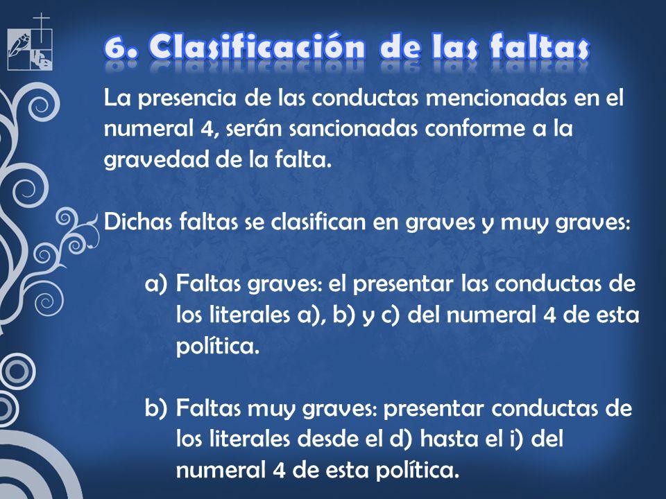 6. Clasificación de las faltas