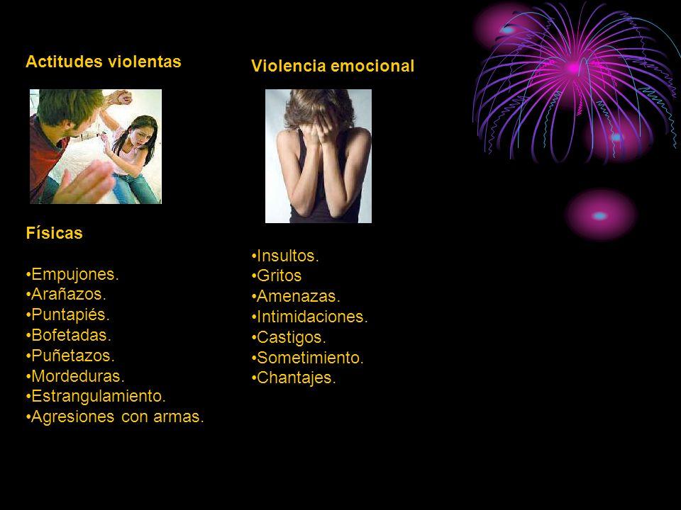 Actitudes violentas Violencia emocional Físicas Insultos. Empujones.