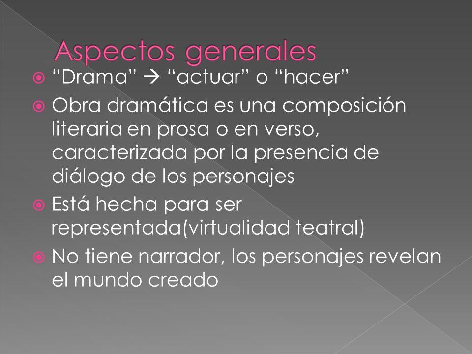 Aspectos generales Drama  actuar o hacer
