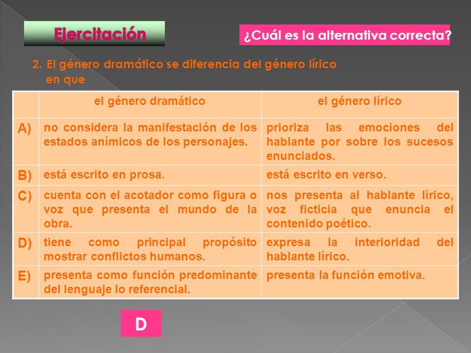 D Ejercitación ¿Cuál es la alternativa correcta A) B) C) D) E)