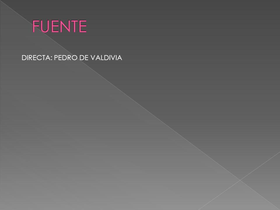FUENTE DIRECTA: PEDRO DE VALDIVIA