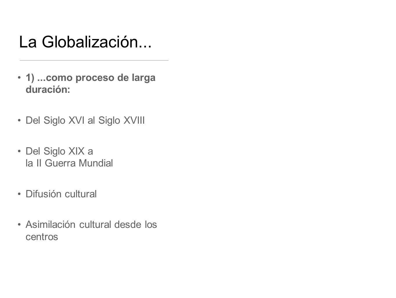 La Globalización... 1) ...como proceso de larga duración: