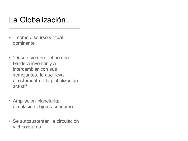 La Globalización... ...como discurso y ritual dominante: