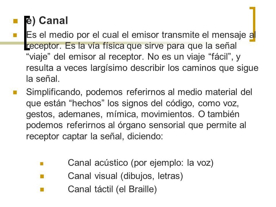 e) Canal