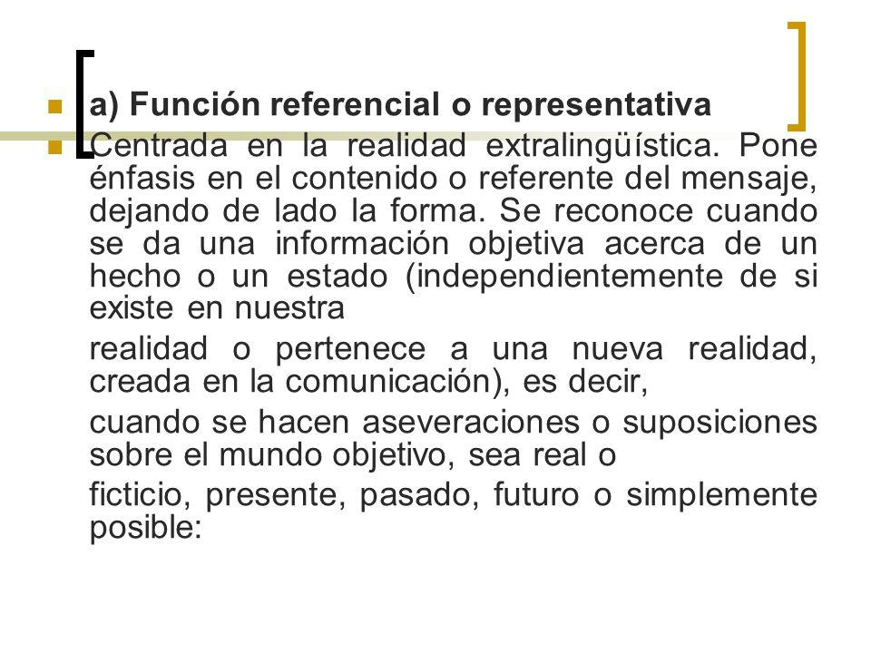 a) Función referencial o representativa