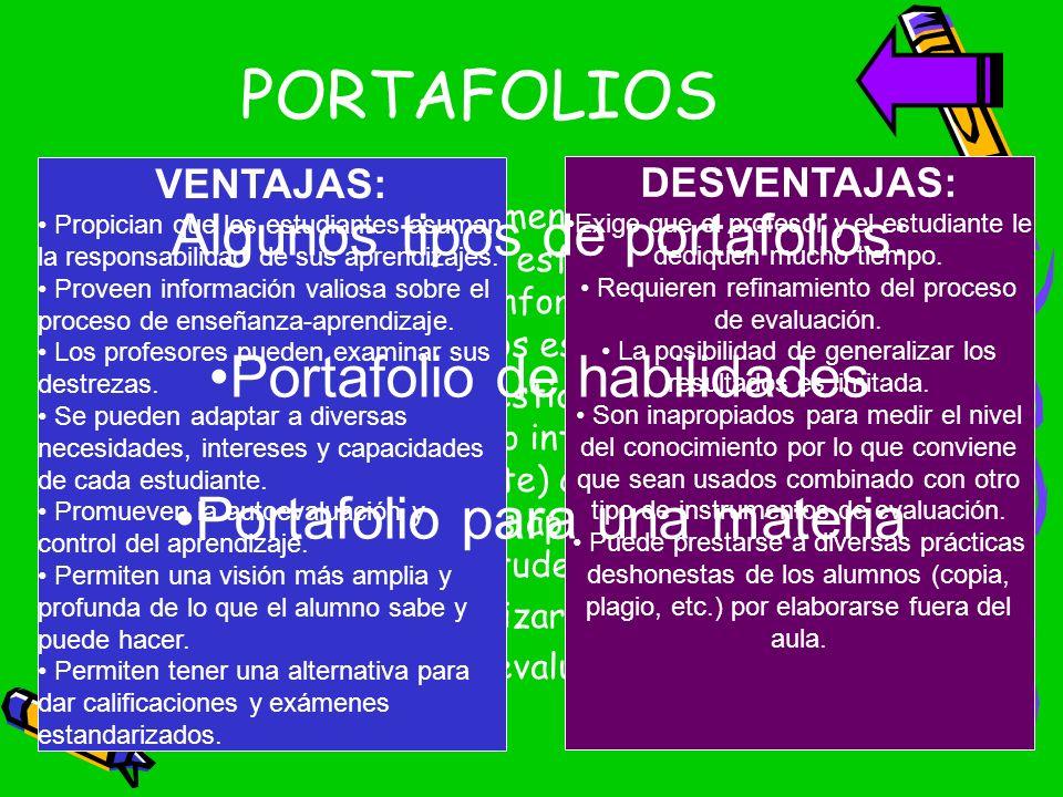 PORTAFOLIOS Algunos tipos de portafolios: Portafolio de habilidades