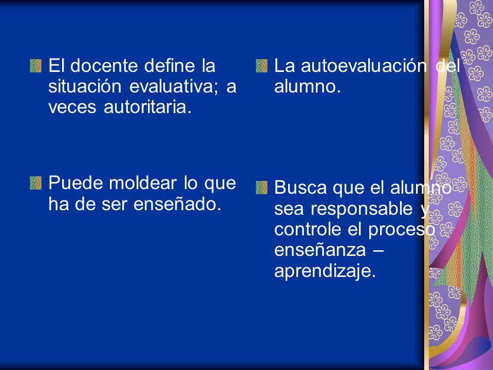 El docente define la situación evaluativa; a veces autoritaria.