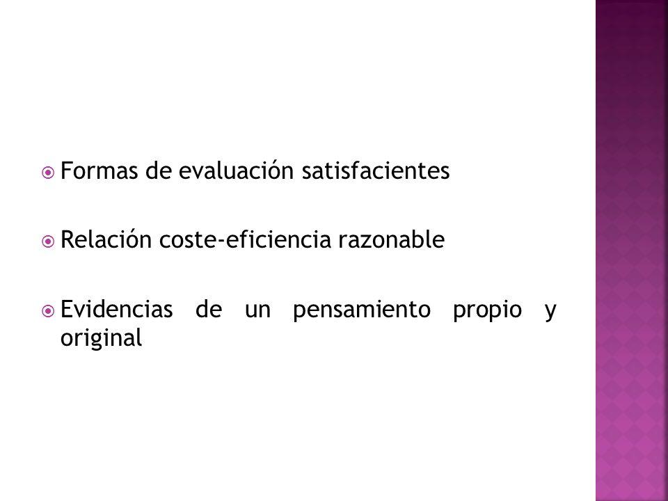 Formas de evaluación satisfacientes