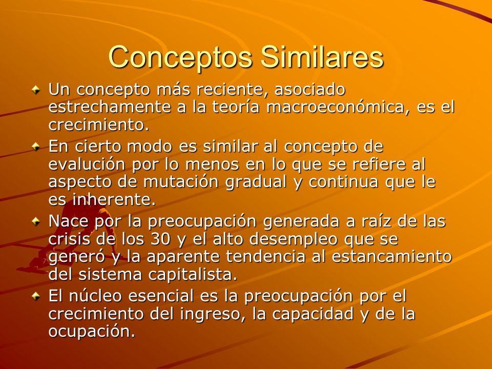 Conceptos SimilaresUn concepto más reciente, asociado estrechamente a la teoría macroeconómica, es el crecimiento.