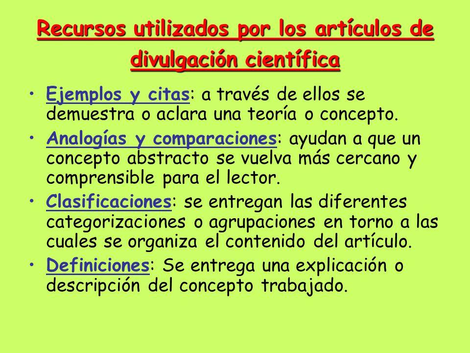 Recursos utilizados por los artículos de divulgación científica