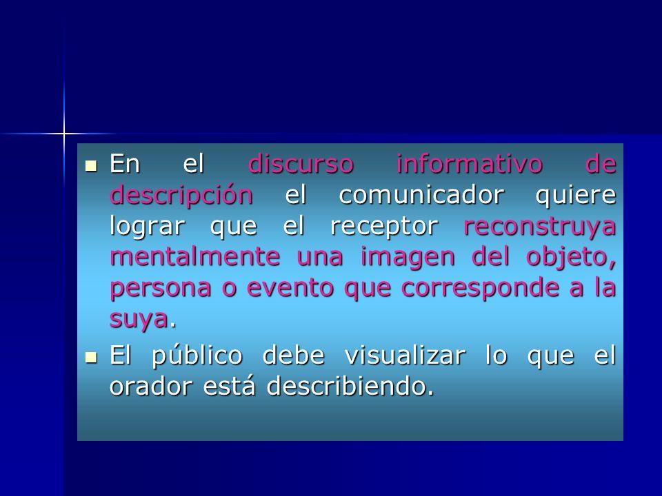 En el discurso informativo de descripción el comunicador quiere lograr que el receptor reconstruya mentalmente una imagen del objeto, persona o evento que corresponde a la suya.