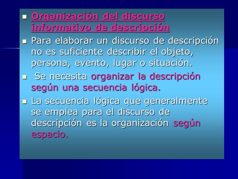 Organización del discurso informativo de descripción