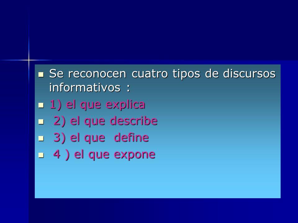 Se reconocen cuatro tipos de discursos informativos :