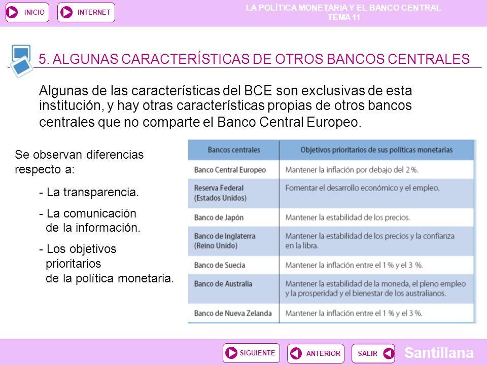 5. ALGUNAS CARACTERÍSTICAS DE OTROS BANCOS CENTRALES