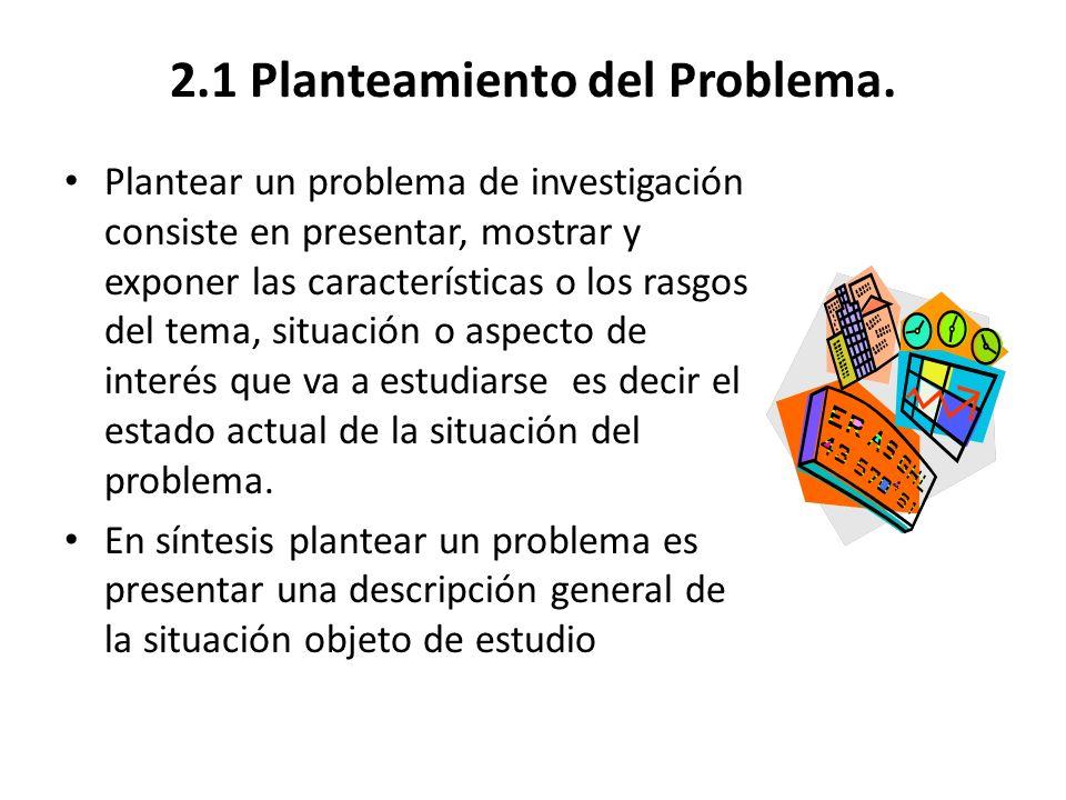 2.1 Planteamiento del Problema.
