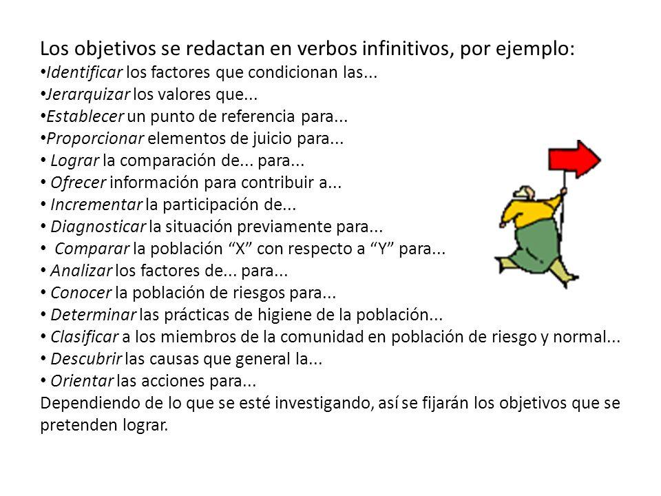 Los objetivos se redactan en verbos infinitivos, por ejemplo: