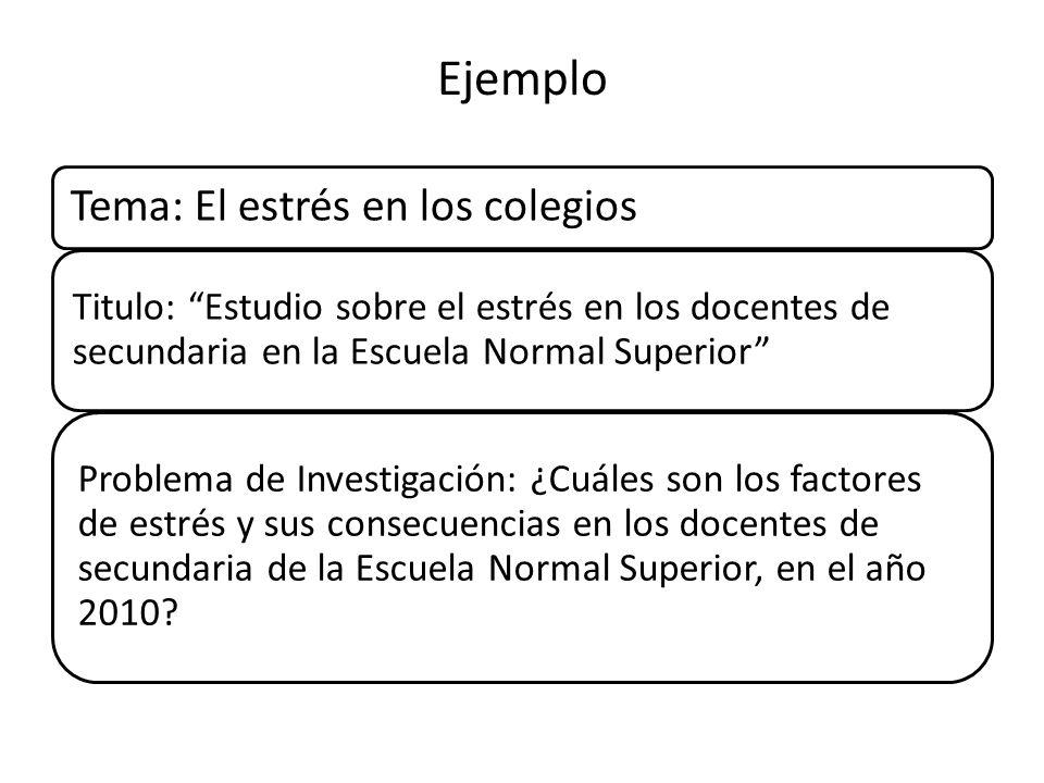 Ejemplo Tema: El estrés en los colegios