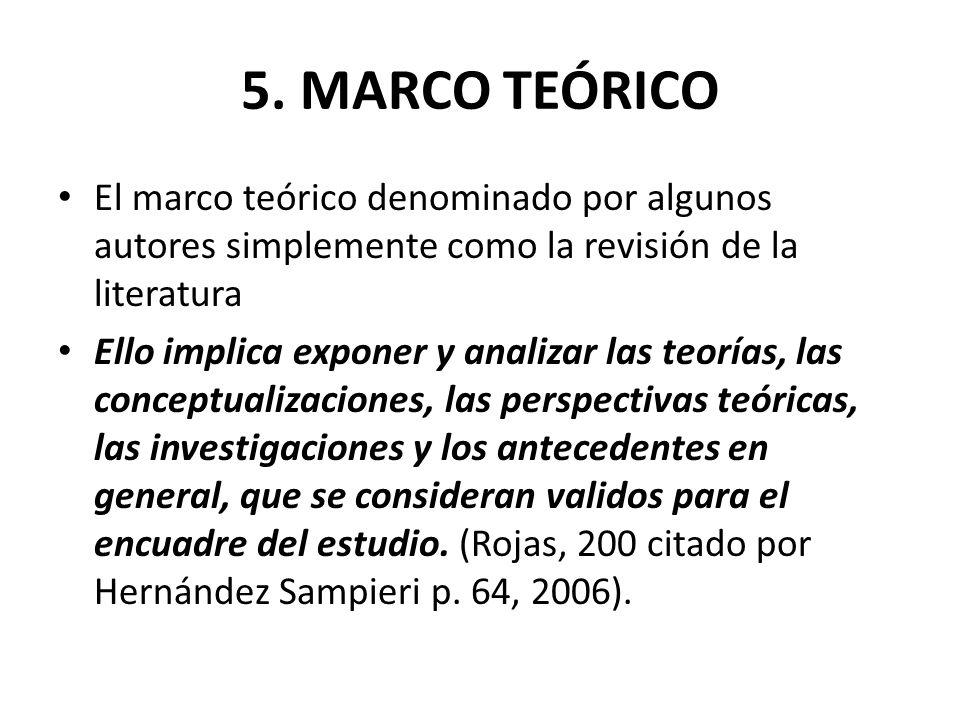 5. MARCO TEÓRICO El marco teórico denominado por algunos autores simplemente como la revisión de la literatura.