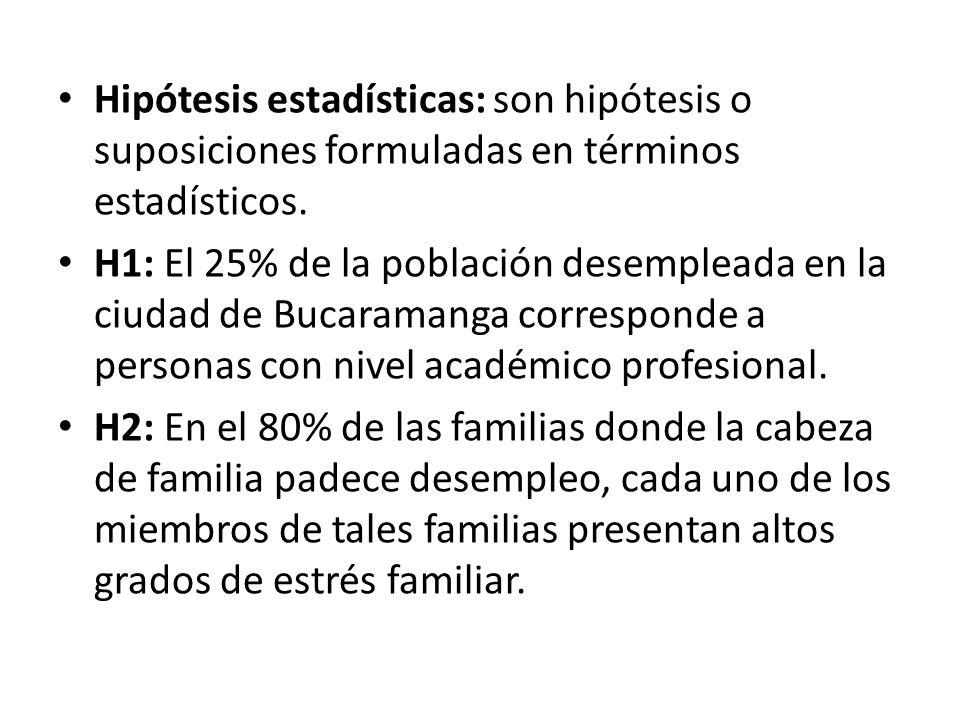 Hipótesis estadísticas: son hipótesis o suposiciones formuladas en términos estadísticos.
