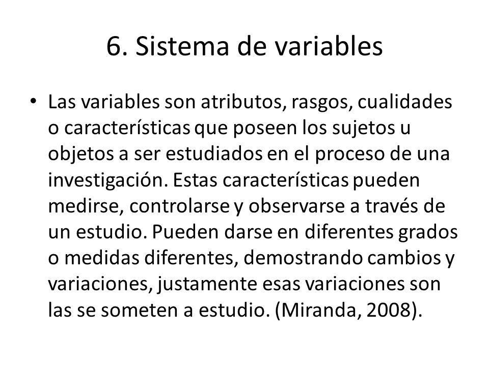 6. Sistema de variables