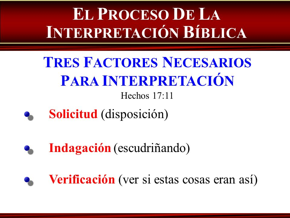 EL PROCESO DE LA INTERPRETACIÓN BÍBLICA