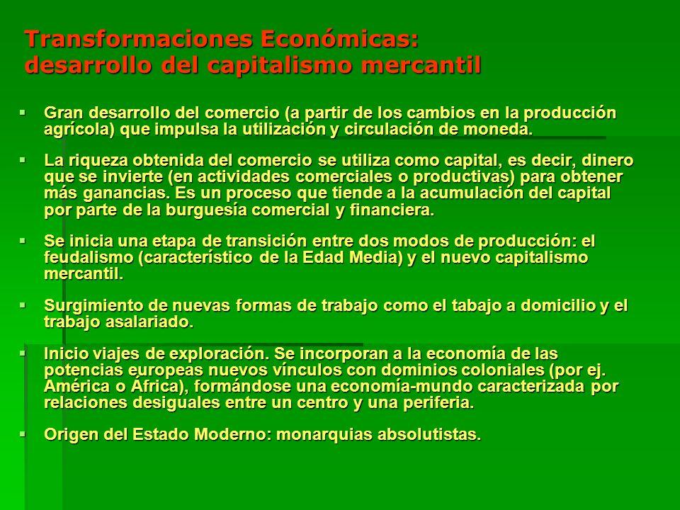 Transformaciones Económicas: desarrollo del capitalismo mercantil