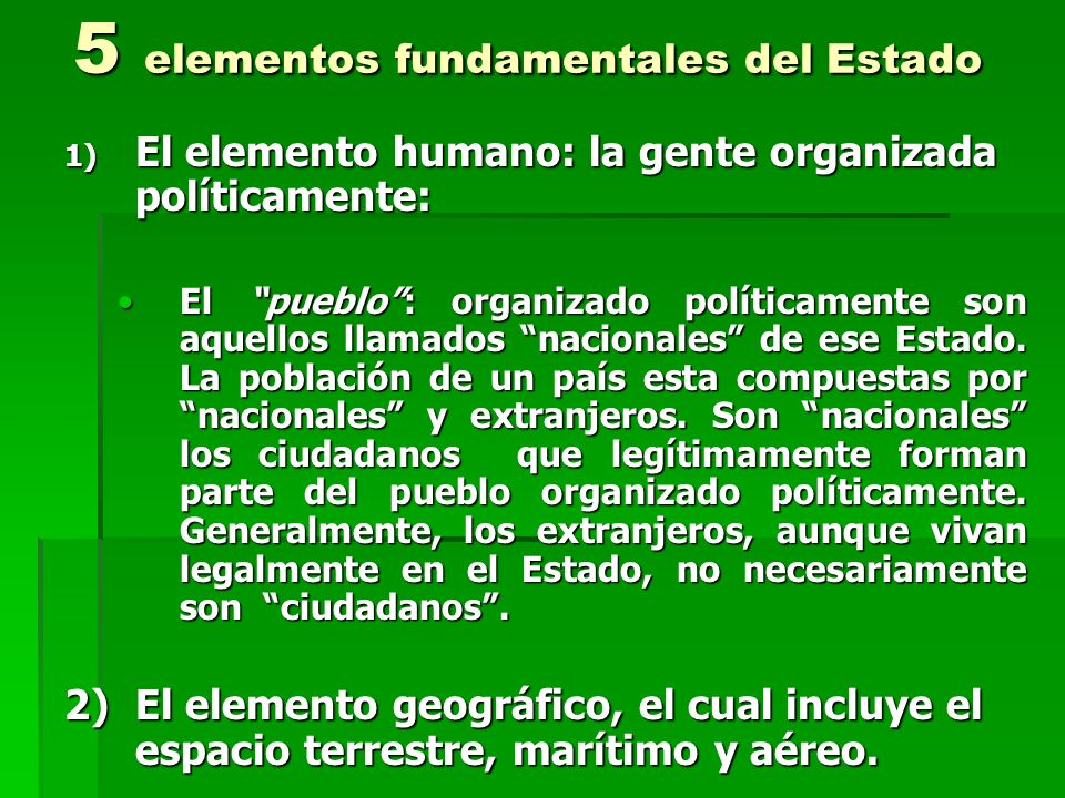 5 elementos fundamentales del Estado