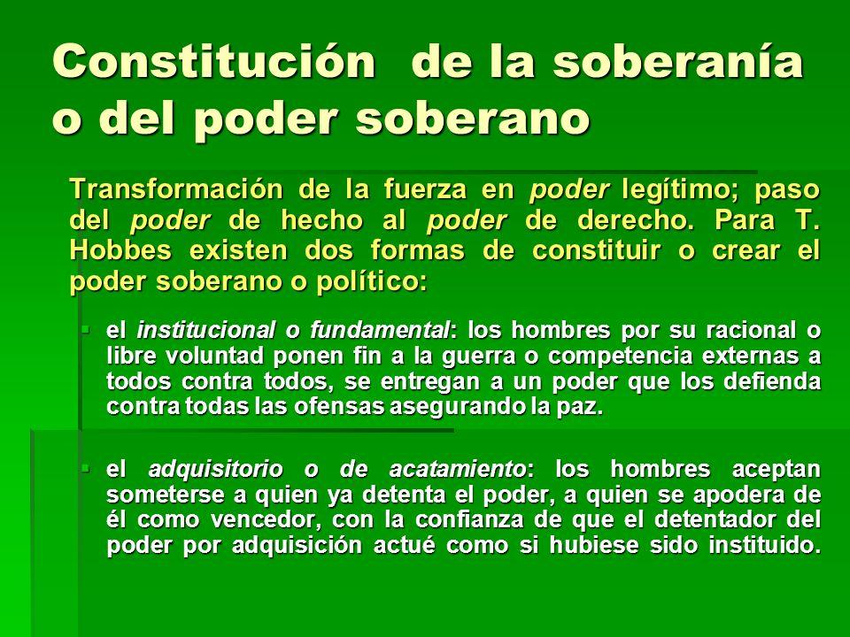 Constitución de la soberanía o del poder soberano