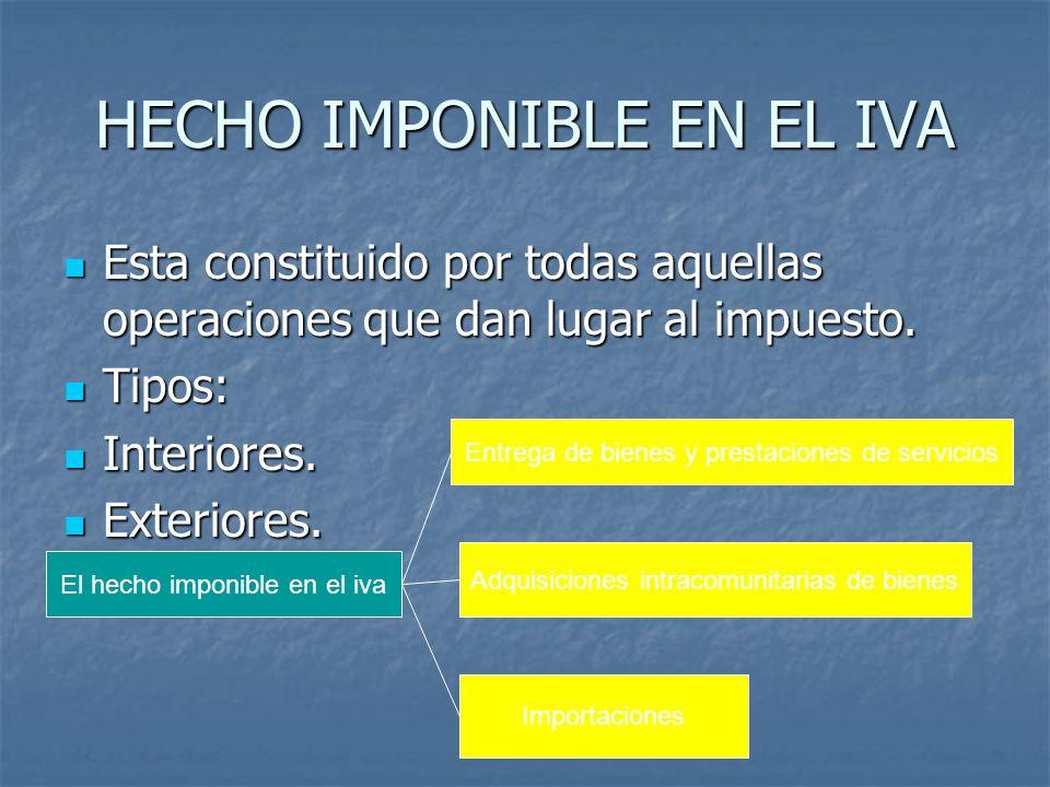 HECHO IMPONIBLE EN EL IVA