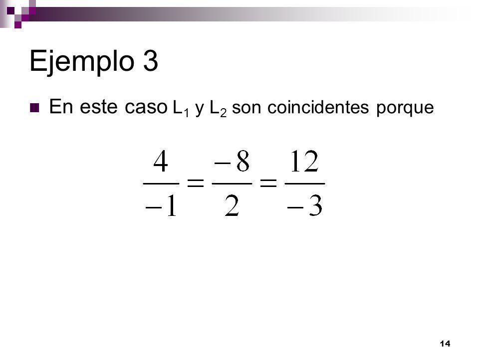 Ejemplo 3 En este caso L1 y L2 son coincidentes porque
