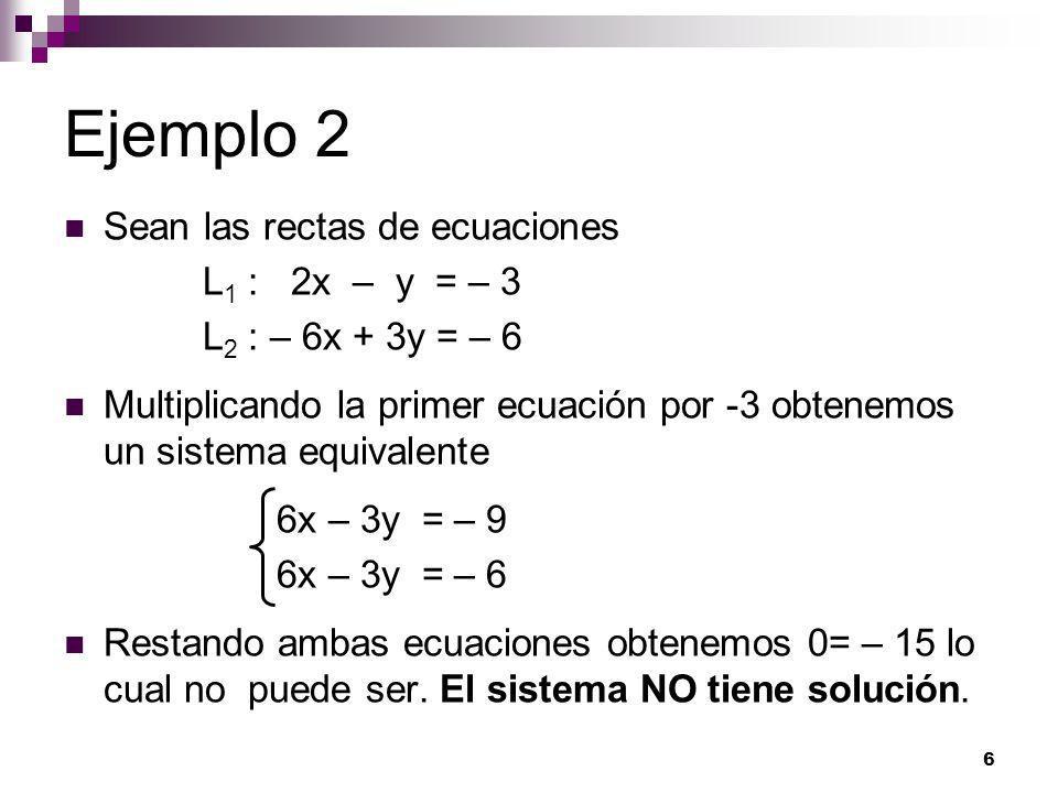 Ejemplo 2 Sean las rectas de ecuaciones L1 : 2x – y = – 3