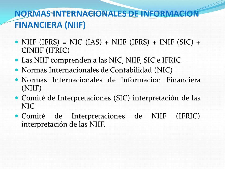 NORMAS INTERNACIONALES DE INFORMACION FINANCIERA (NIIF)