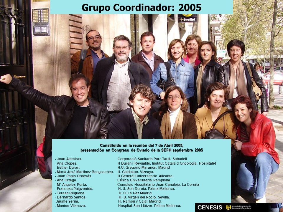 Grupo Coordinador: 2005 Constituido en la reunión del 7 de Abril 2005,