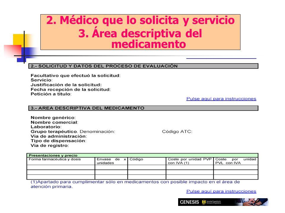 2. Médico que lo solicita y servicio